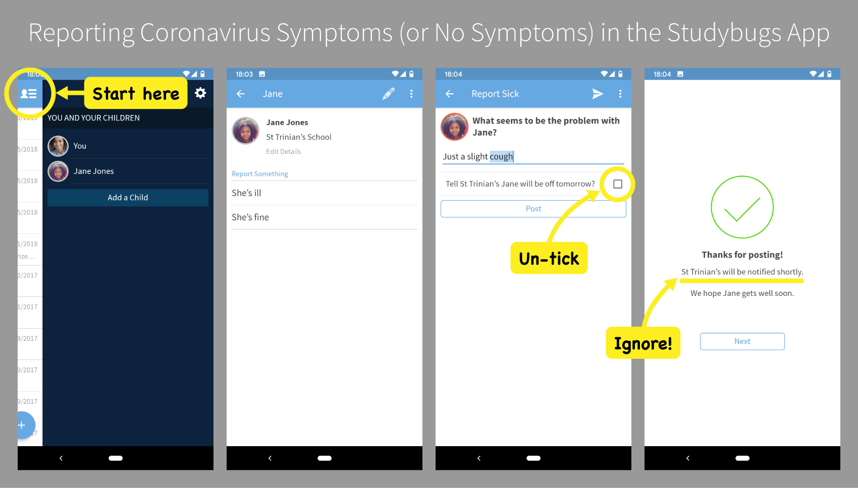Reporting coronavirus symptoms in the Studybugs app